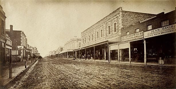 An image of Hindley Street, Adelaide (view east along Hindley Street towards King William Street)