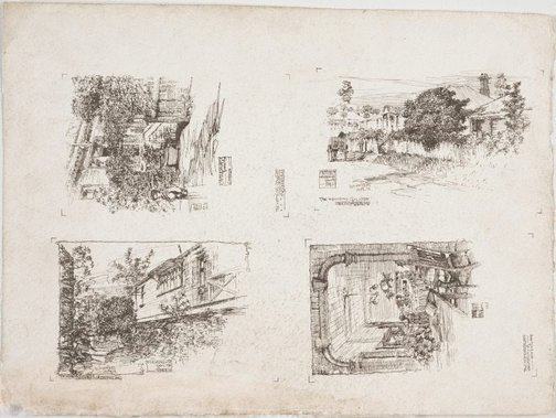 An image of recto: Chislehurst from the Garden; Oskarsholme and Warrawee from the Street; Dining Hall; Oskarsholme from the Garden verso: St Andrew's Anglican Church, South Brisbane by Lloyd Rees