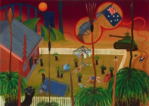 Xanthorrhoea takes over the suburban backyard, (1995) by Gordon Hookey