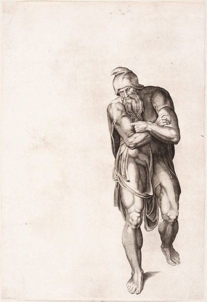 An image of Standing man with crossed arms by Nicolas Beatrizet, after Michelangelo Buonarotti