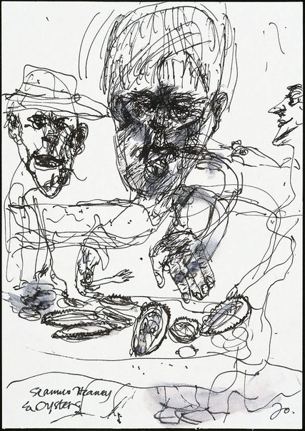 An image of Study for soft-ground etching 'Seamus Heaney and oysters' by John Olsen