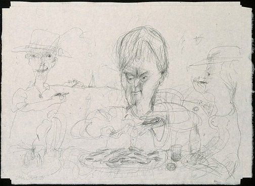 An image of Drawing for soft-ground etching 'Seamus Heaney and oysters' by John Olsen