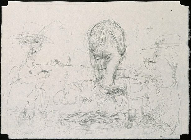 An image of Drawing for soft-ground etching 'Seamus Heaney and oysters'