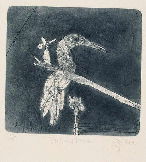 An image of Bird and blossoms by John Olsen