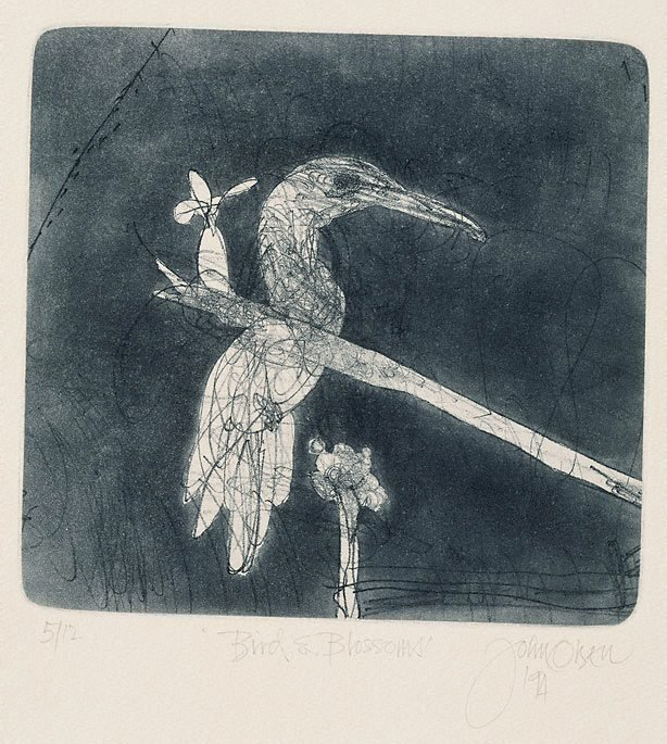 An image of Bird and blossoms