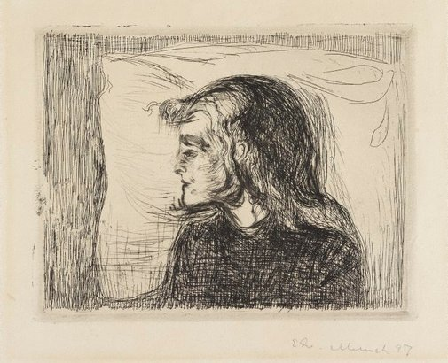An image of The sick child by Edvard Munch