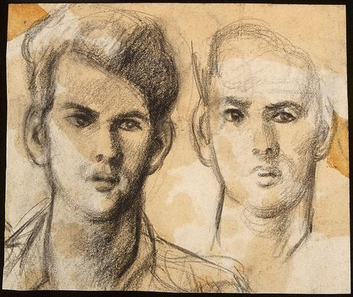 An image of Two drawings of a man's head by Jean Bellette
