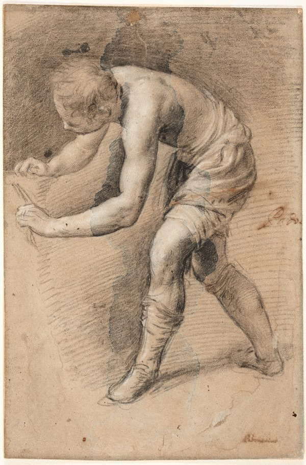 An image of A study of a boy leaning forward