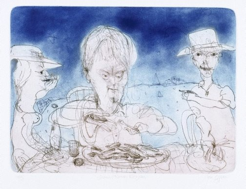 An image of Seamus Heaney and oysters by John Olsen