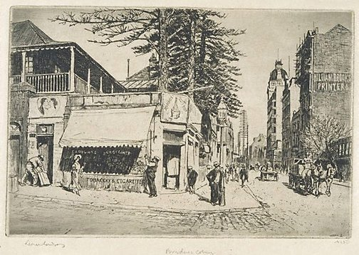 An image of Bowden's corner in Castlereagh Street by Lionel Lindsay