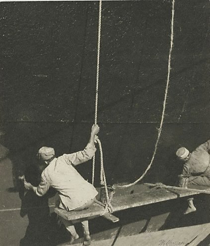 An image of Two ship painters by Henri Mallard