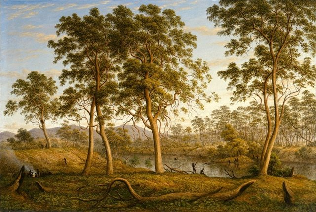 Natives on the Ouse River, Van Diemen's Land, (1838) by John Glover