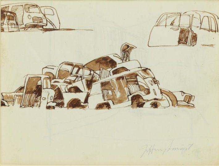 AGNSW collection Jeffrey Smart Study for 'Motor dump, Pisa I' 1971 1971