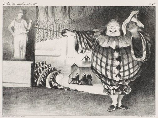 An image of Bring down the curtain, the farce is over by Honoré Daumier