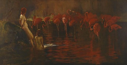 An image of Flamingoes by Sydney Long
