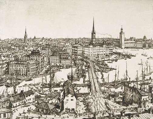 An image of Stockholm by Sir Muirhead Bone