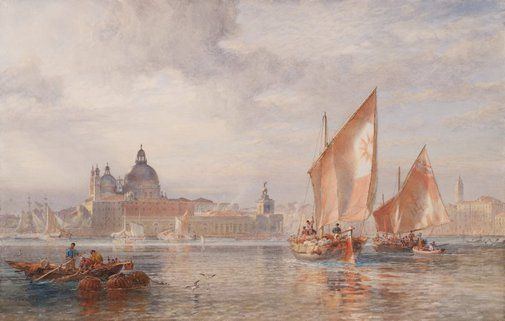 An image of Weather clearing after rain, Venice – fruit boats going to the Rialto by Sir Oswald Brierly