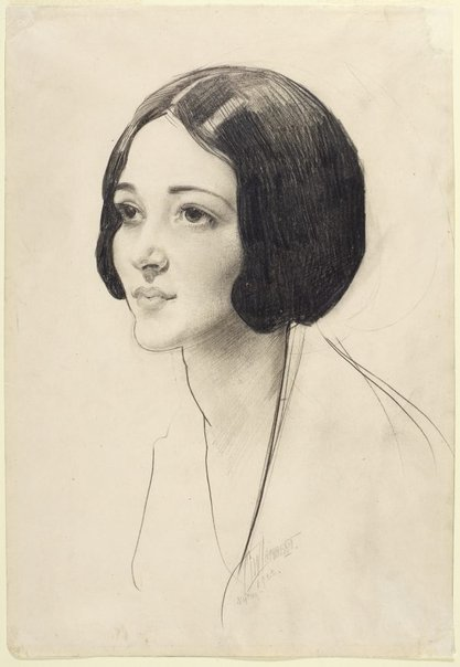 An image of Head of a woman with dark hair by George W Lambert