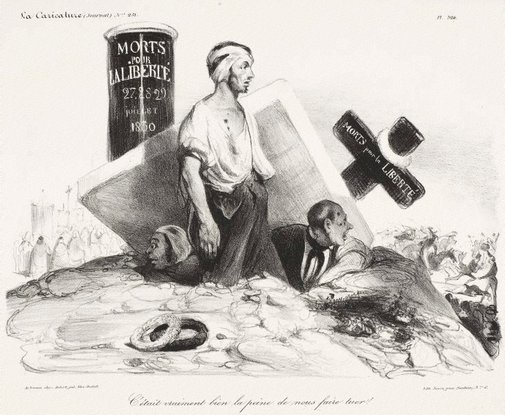 An image of So this is all we got ourselves killed for! by Honoré Daumier