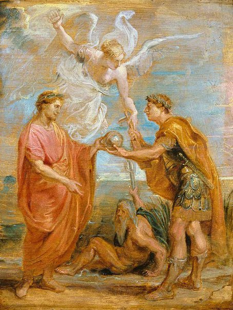 An image of Constantius appoints Constantine as his successor by Sir Peter Paul Rubens