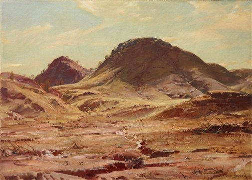 An image of The hill of the creeping shadow by Hans Heysen