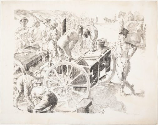 An image of The cookers, near Villers Bretonneux, Somme, 1918 by Will Dyson