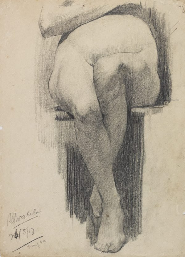 An image of (Seated female nude, leg study)