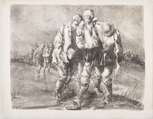 An image of Wine of Victory (Wounded German prisoners near Ypres) by Will Dyson