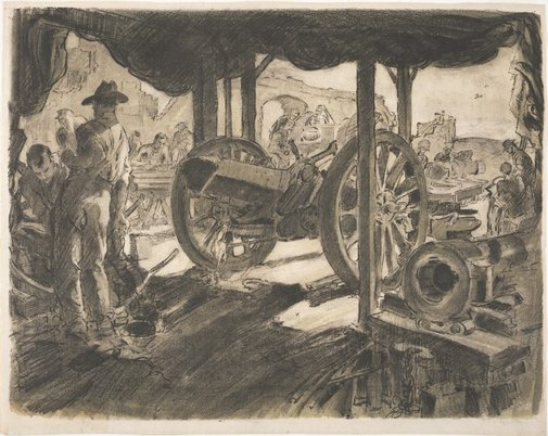 An image of Ordinance workshops, Cambrai Road, Bapanne, May 1917 by Will Dyson