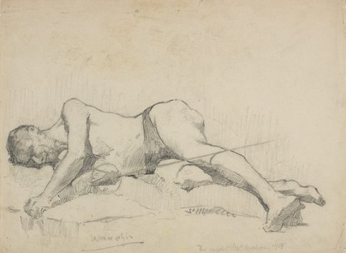 An image of (Reclining male nude with sword - The model McMahon) by Roland Wakelin