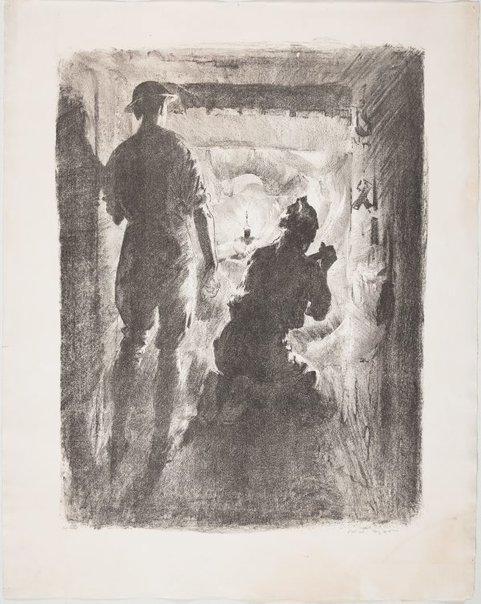 An image of With the 2nd Australian tunnellers near Nieuport by Will Dyson