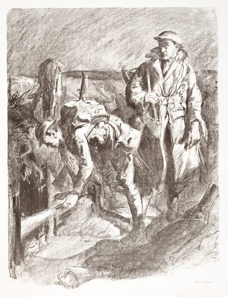 An image of Looking for booby traps, near Ligny Tilloy, 1917 by Will Dyson