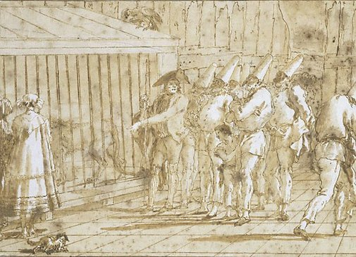 An image of The lion's cage by Giovanni Domenico Tiepolo