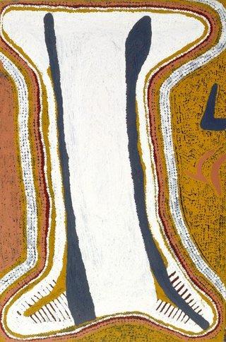 AGNSW collection Charlie Tararu Tjungurrayi Wati G'wala (Iceman) dreaming (1989) 486.1995
