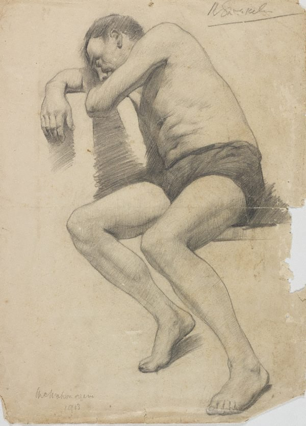 An image of (Seated male nude - McMahon again)