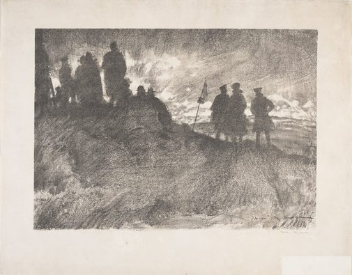 An image of Watching the barrage from Mount Kemmel by Will Dyson