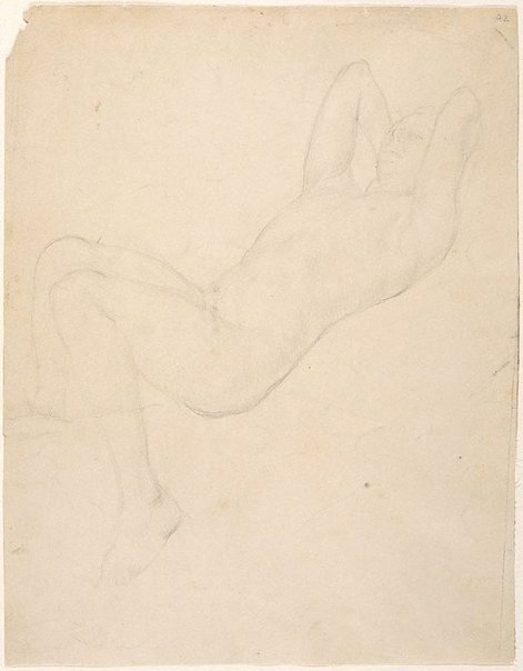 An image of (Male nude reclining) (Student studies) by William Dobell
