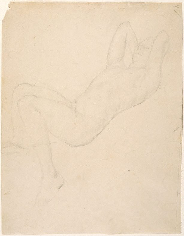 An image of (Male nude reclining) (Student studies)