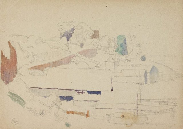 An image of recto: (Boatshed study) verso: (Landscape study)