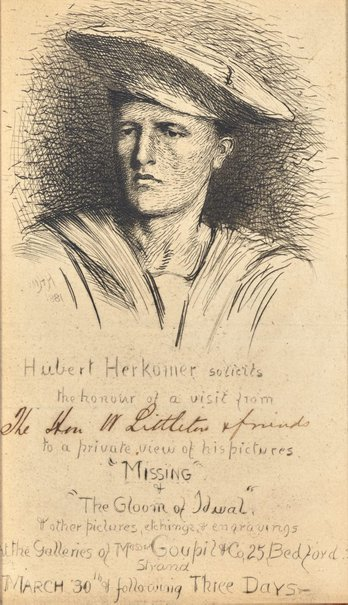 An image of Etched invitation to private viewing by Hubert von Herkomer with pen and ink inscription to The Hon W Littleton & friends by Sir Hubert von Herkomer