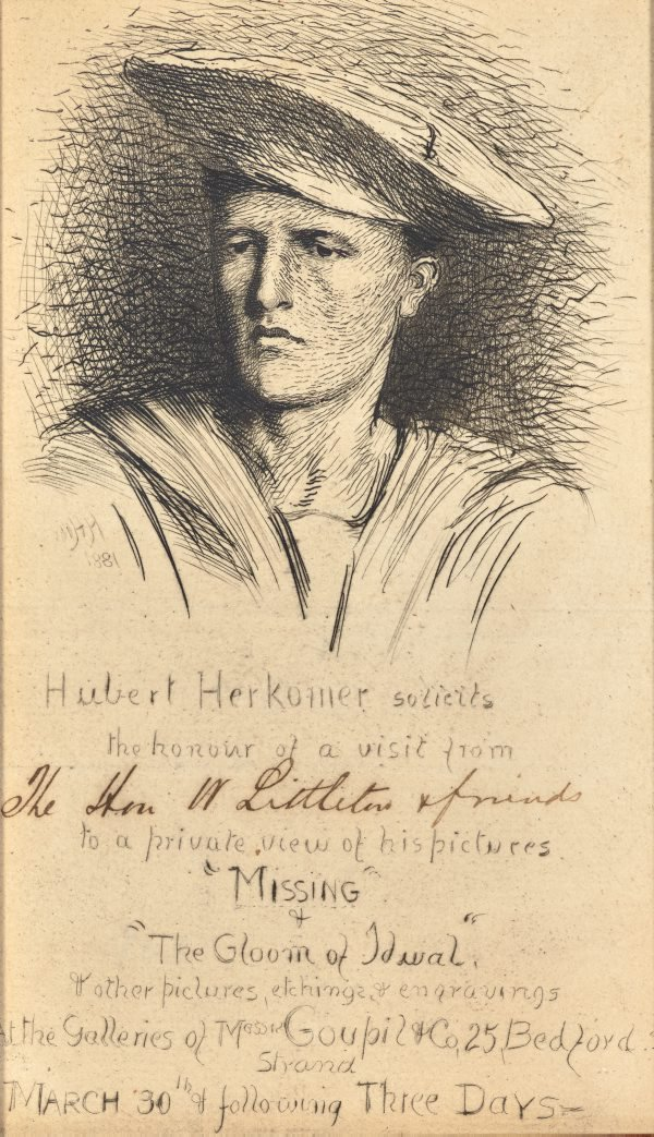 An image of Etched invitation to private viewing by Hubert von Herkomer with pen and ink inscription to The Hon W Littleton & friends