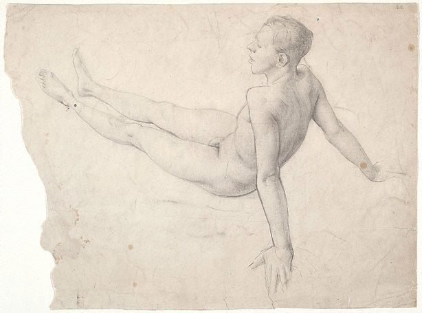 An image of (Male nude seated on the floor) (Student studies)