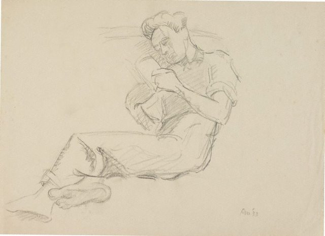 An image of (Seated male, reading)