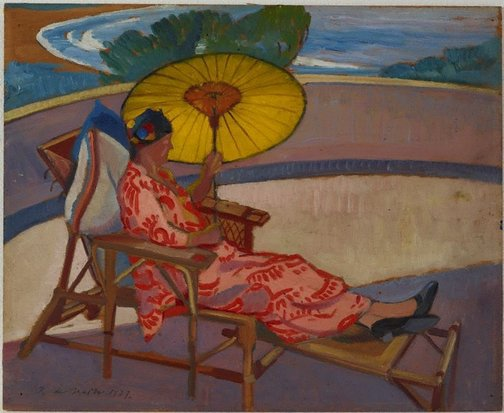 An image of Woman with parasol at Palm Beach by Roy de Maistre