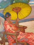 Alternate image of Woman with parasol at Palm Beach by Roy de Maistre