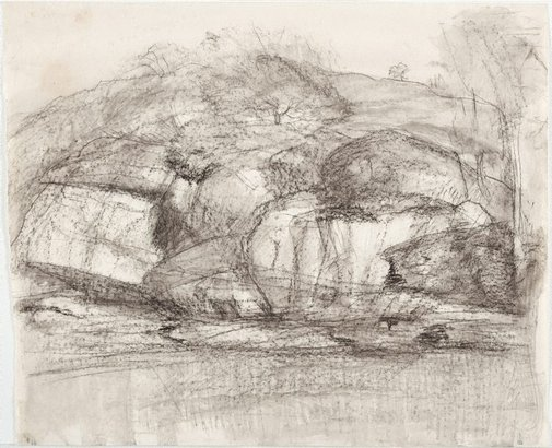 An image of Rocky hill face by Lloyd Rees