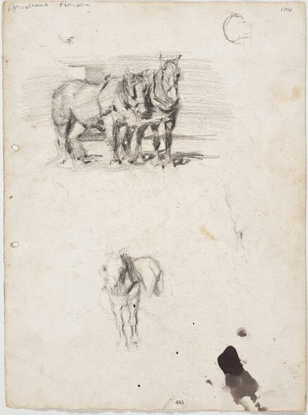 An image of recto: Lorry horses verso: Lorry horses by Lloyd Rees