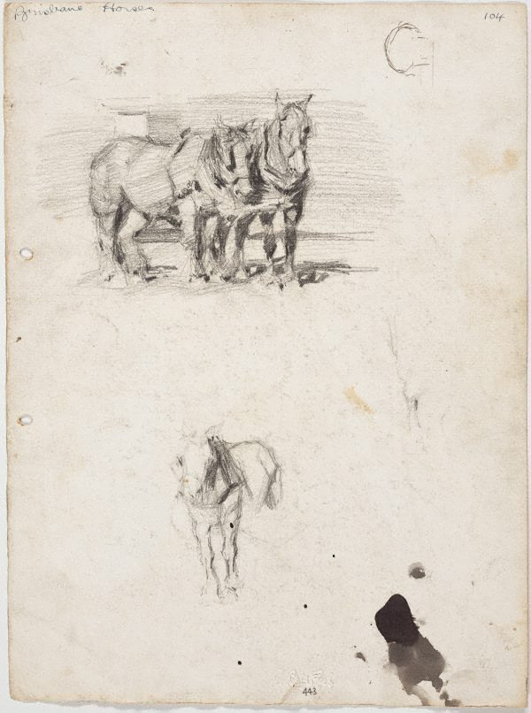 An image of recto: Lorry horses verso: Lorry horses