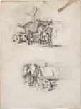 Alternate image of recto: Lorry horses verso: Lorry horses by Lloyd Rees