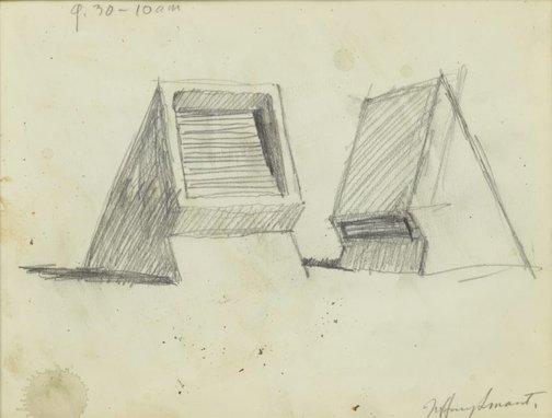 An image of Study for 'Ventilators, The Domain' 1981 by Jeffrey Smart